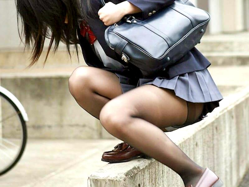 JK黒タイツ・ストッキング画像-44